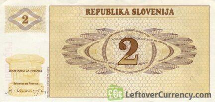 2 Slovenian Tolars banknote (Triglav mountain series) reverse