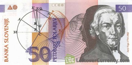 50 Slovenian Tolars banknote (Jurij Vega) obverse