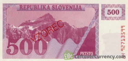 500 Slovenian Tolars banknote (Triglav mountain series) obverse