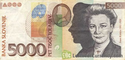 5000 Slovenian Tolars banknote (Ivana Kobilika) obverse