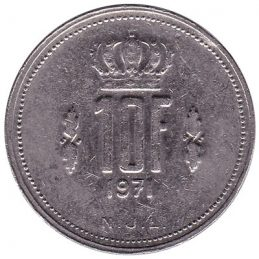 Luxembourg 10 francs coin