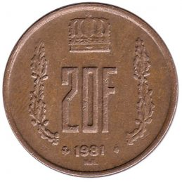 Luxembourg 20 francs coin