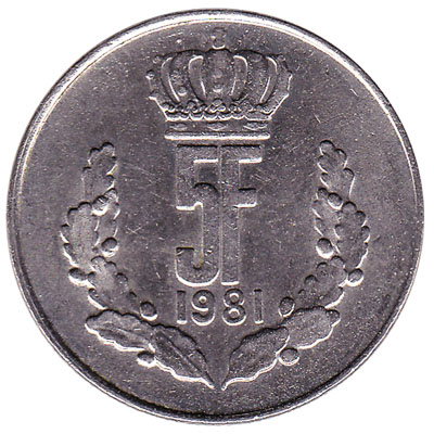 Luxembourg 5 francs coin