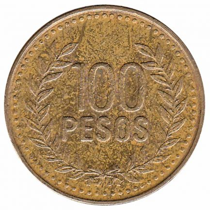 100 Pesos coin Colombia (laurel wreath)