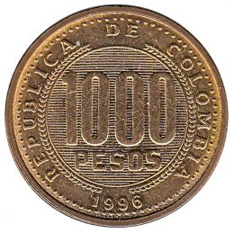 1000 Pesos coin Colombia (1996 to 1998)