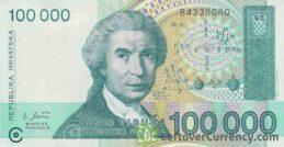 100000 Dinara banknote Republic of Croatia