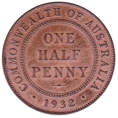Australian one half penny coin