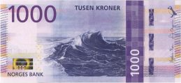 1000 Norwegian Kroner banknote (sea wave)