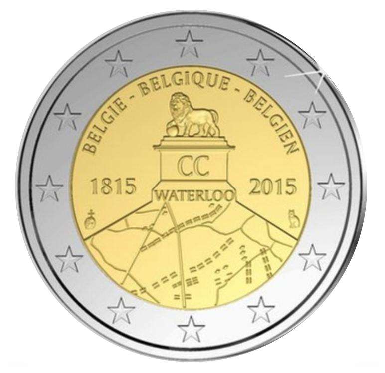 controversial 2 euro coin Waterloo 2015 Belgium